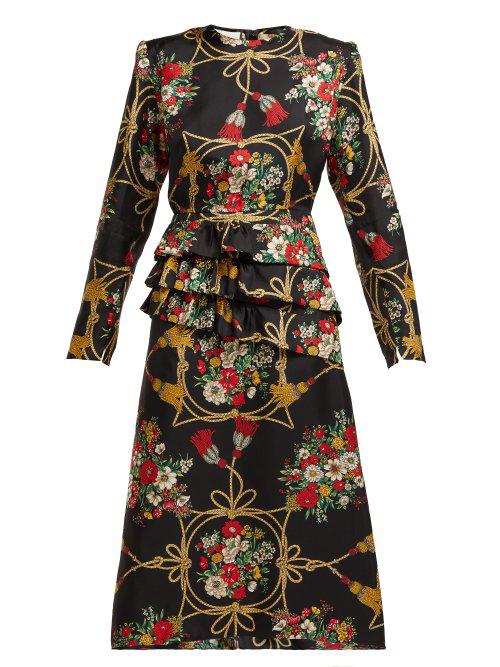 b924e7182b Gucci - Intrigue Floral Print Silk Twill Midi Dress - Womens - Black Multi