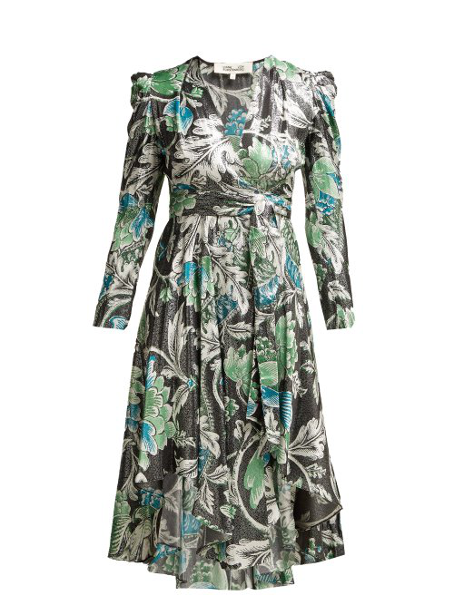 07cf6b0965578b Diane Von Furstenberg - Darcey Tiger Lily Print Metallic Wrap Dress -  Womens - Green Print
