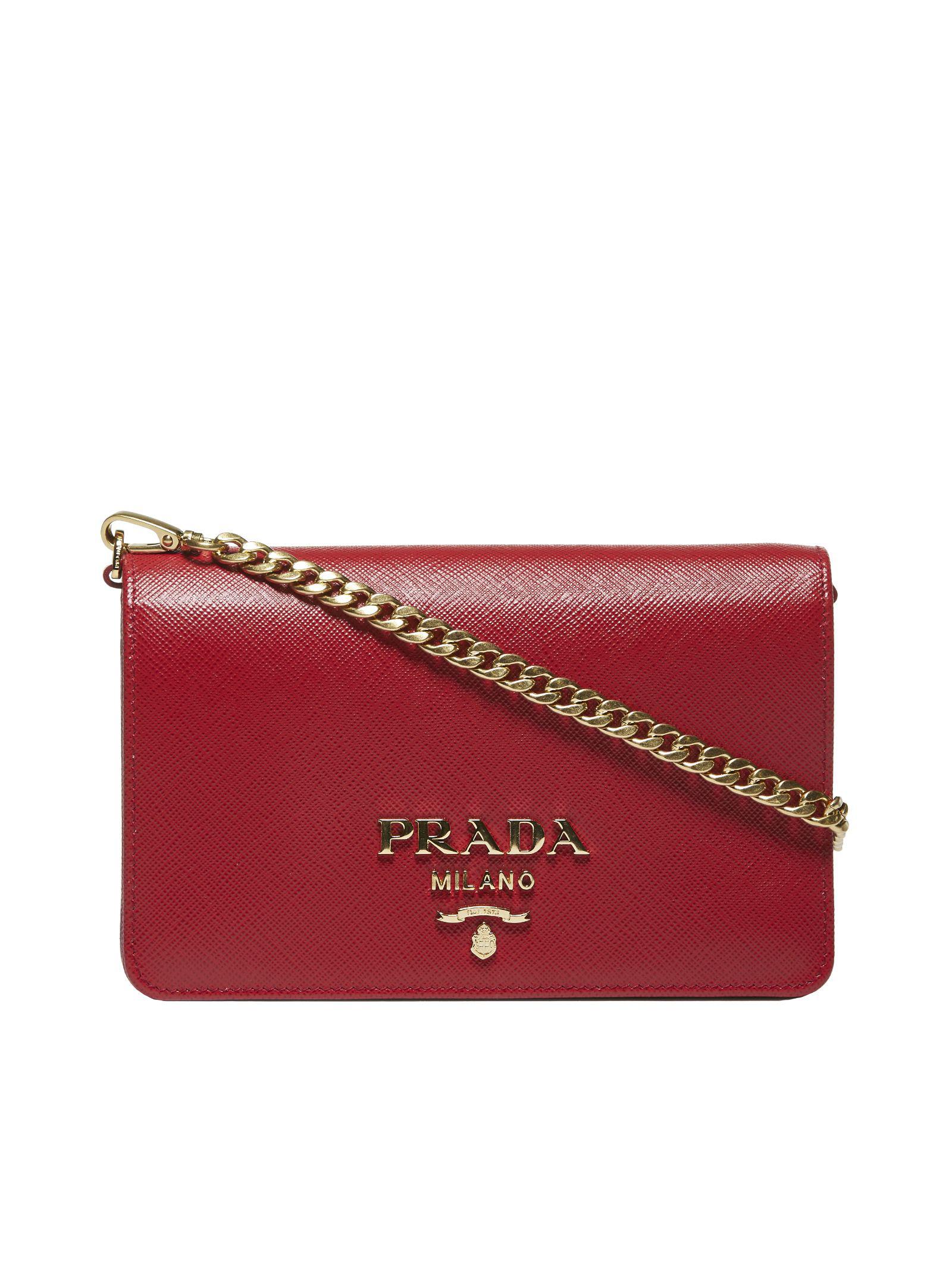 4e609ecf34b1d Prada Saffiano Crossbody Bag In Rosso