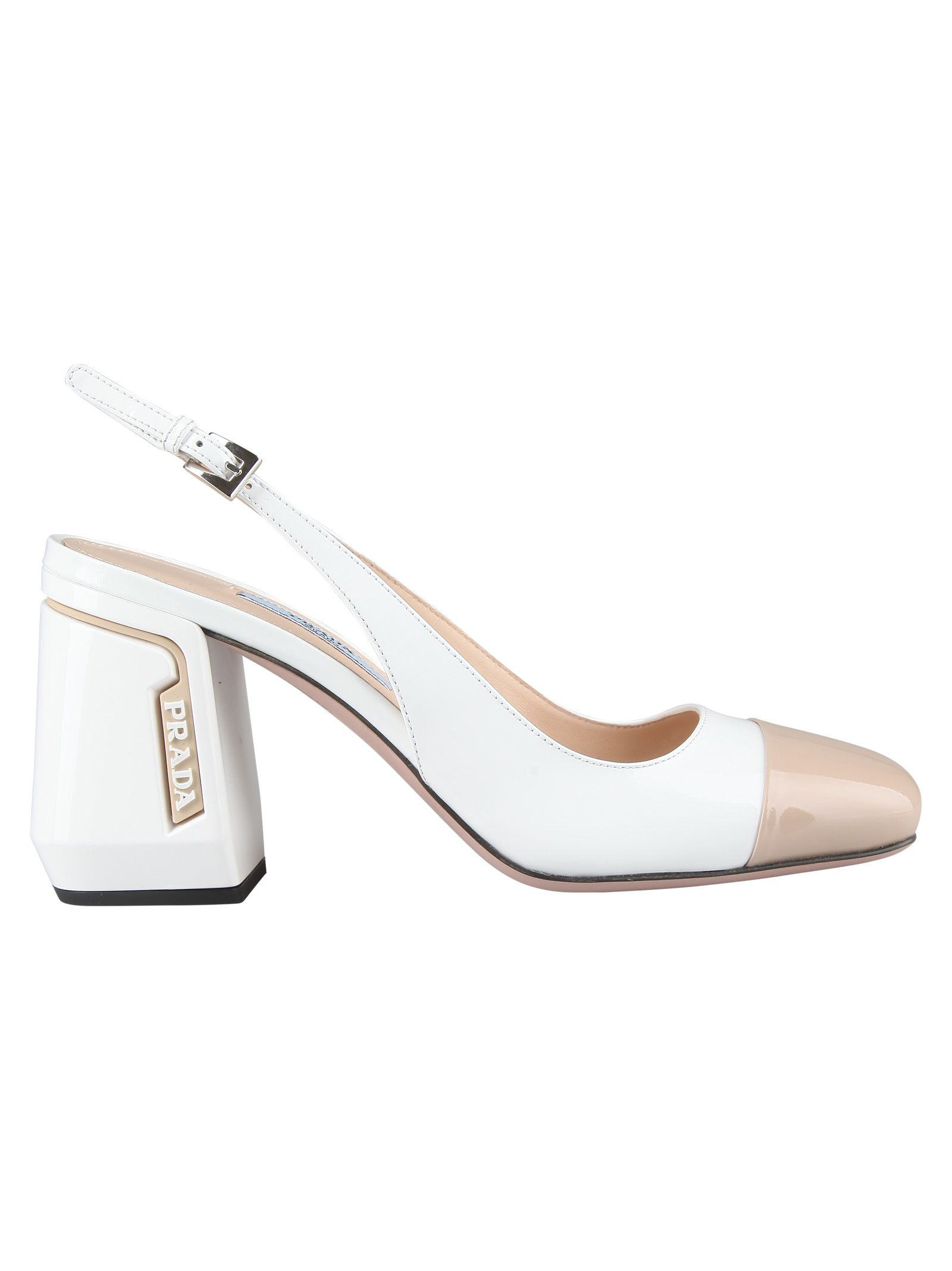 c3f58c04c Prada 85 Two-Tone Smooth And Patent-Leather Slingback Pumps In White ...