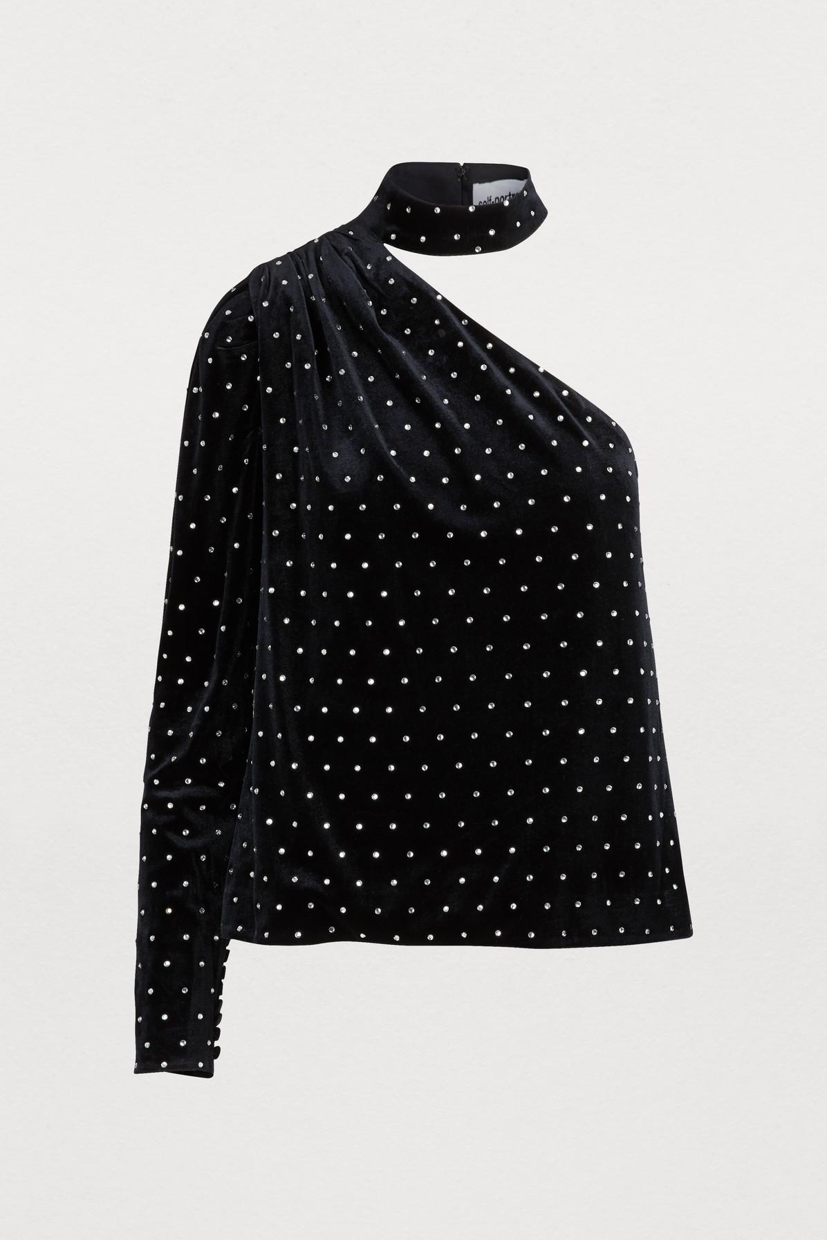 a47465146513 Self-Portrait One-Shoulder Crystal-Embellished Velvet Top In Black ...