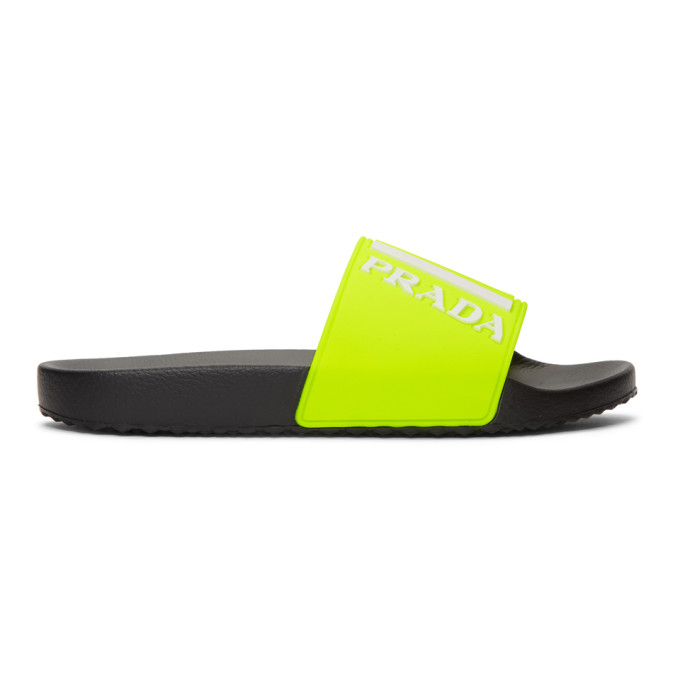 395abf88a Prada - Logo Embossed Rubber Slides - Mens - Yellow In F0L0F Giall ...