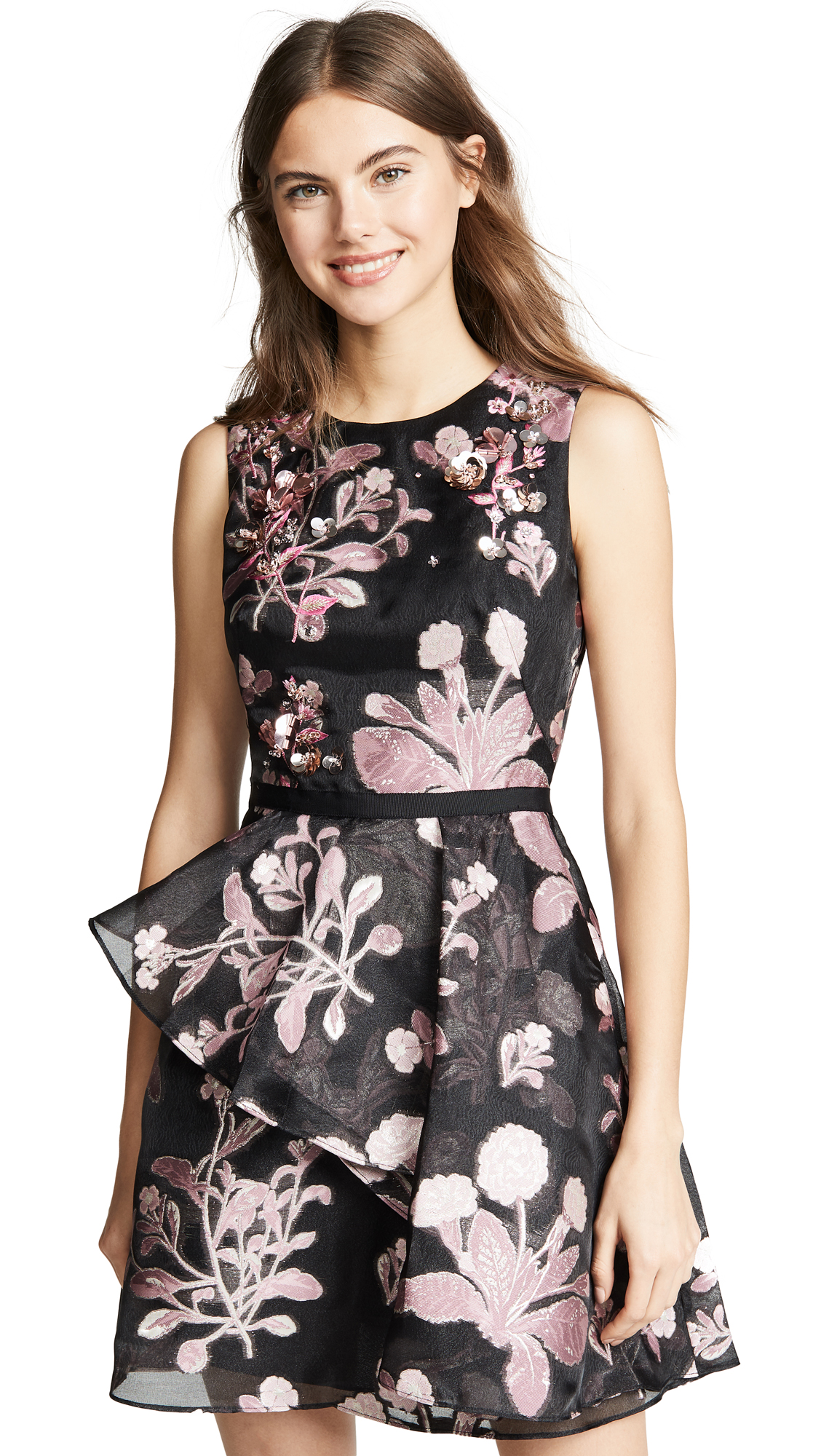 cf7010f9f9e Marchesa Notte Metallic Floral-Embroidered Sleeveless Cocktail Dress W   Back Cutout In Black
