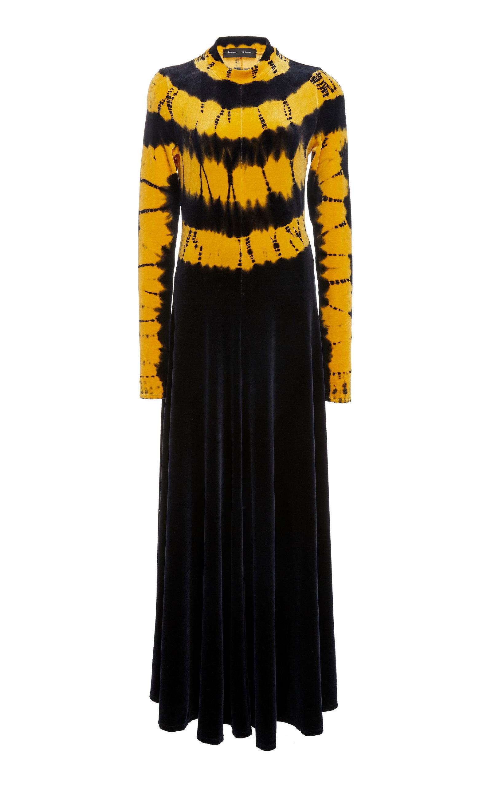 Proenza Schouler Tie Dye Long Sleeve Velvet Dress In Yellow Modesens