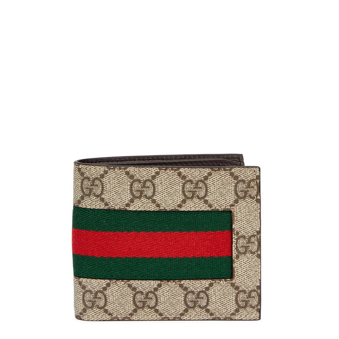 6f563cbf7b2 Gucci Web Gg Supreme Bi-Fold Wallet With Bee