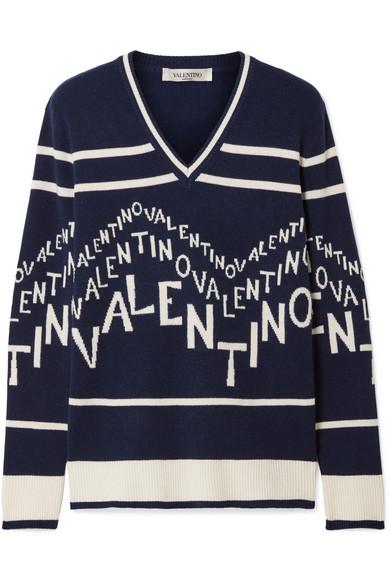 1384703603de23 Valentino Chevron Logo Wool & Cashmere V-Neck Sweater In Navy | ModeSens
