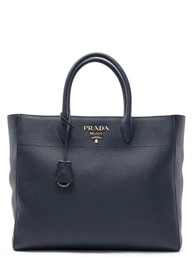 2fb1e8e4106f Prada Classic Logo Handle Tote Bag In Blue