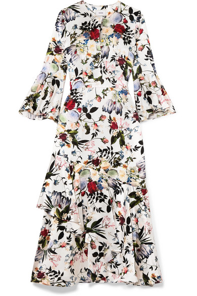 276f0779c66e Erdem Florence Floral-Print Silk Midi Dress In Multicoloured | ModeSens