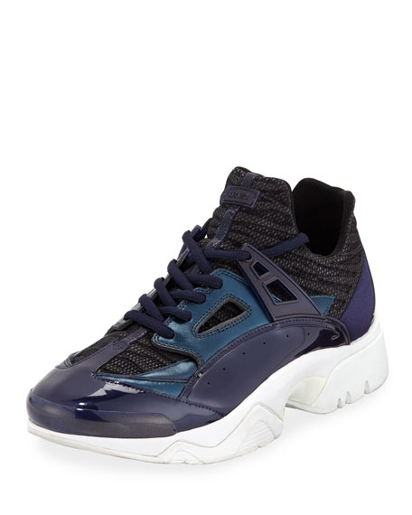 cae8bd1d3d Kenzo Men's Sonic Sneakers With Leather Trim In Blue   ModeSens