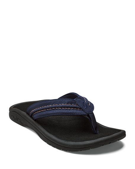 ec06db0036cf Olukai Men s Hokua Faux-Leather Flip-Flop Sandals In Trench Blue  Black