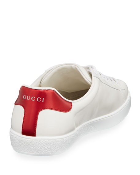 Gucci Men's Ace 'Loved' Leather Sneakers In 9062 White