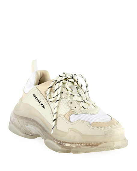 Balenciaga Triple S Clear Sole Mesh, Nubuck And Leather Sneakers In White