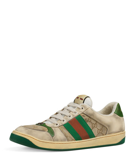 68f2758d925 Gucci Multicolor Sneakers Screener In Leather With Web Tape In Neutrals