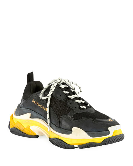 Balenciaga Men's Triple S Mesh & Leather Sneakers, Black/Yellow