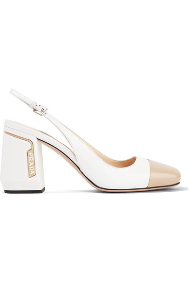 e4373a19292 Prada 85 Two-Tone Smooth And Patent-Leather Slingback Pumps In F0Yhc Bianco+