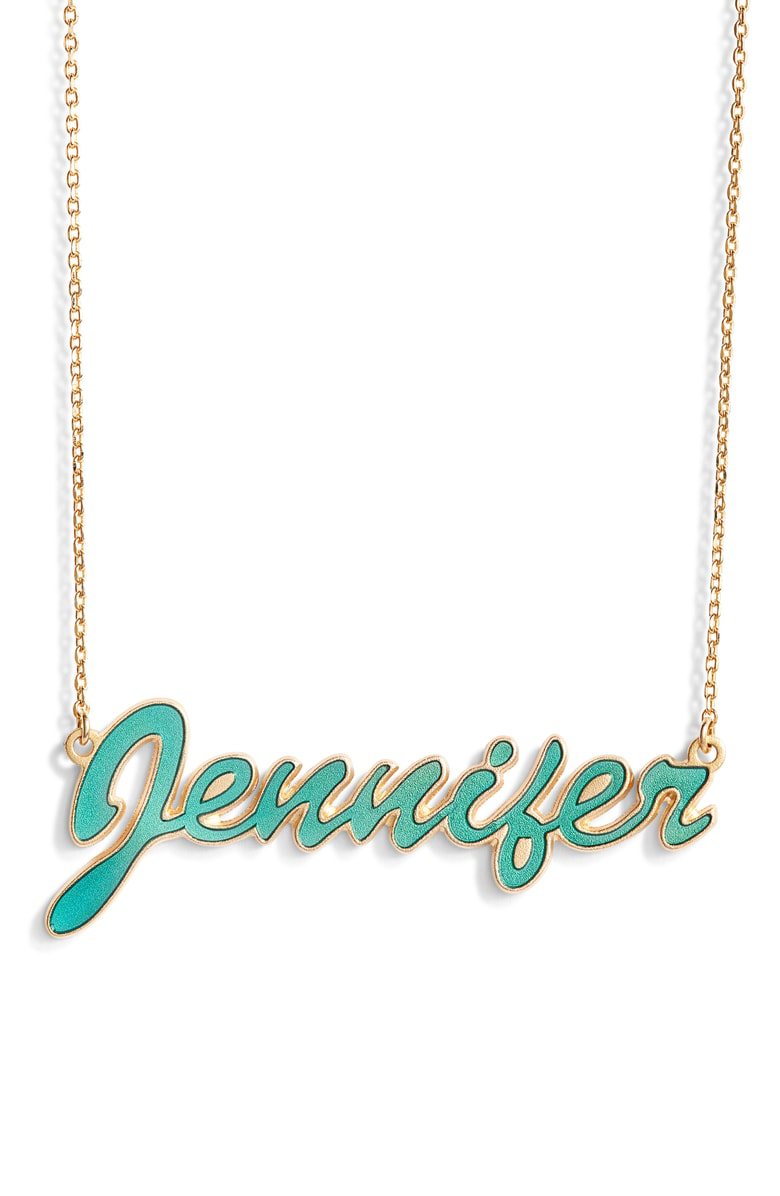 981286649 Argento Vivo Personalized Enamel Script Necklace In Turquoise/ Gold ...