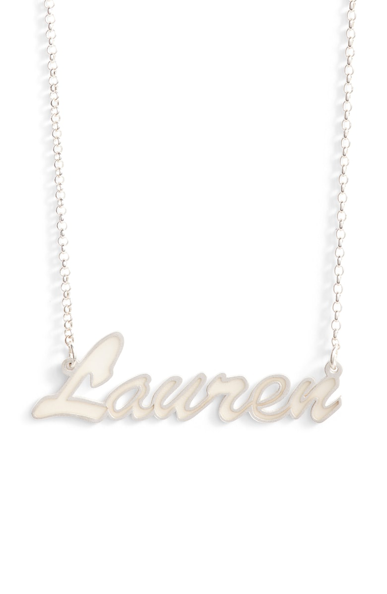 9b190684f Argento Vivo Personalized Enamel Script Necklace In White/ Silver ...