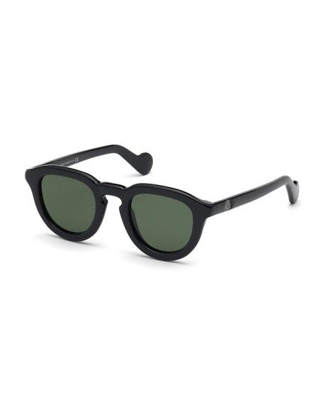 78ff5ce899523 Moncler Men s Round Duvet Acetate Sunglasses In Green Black