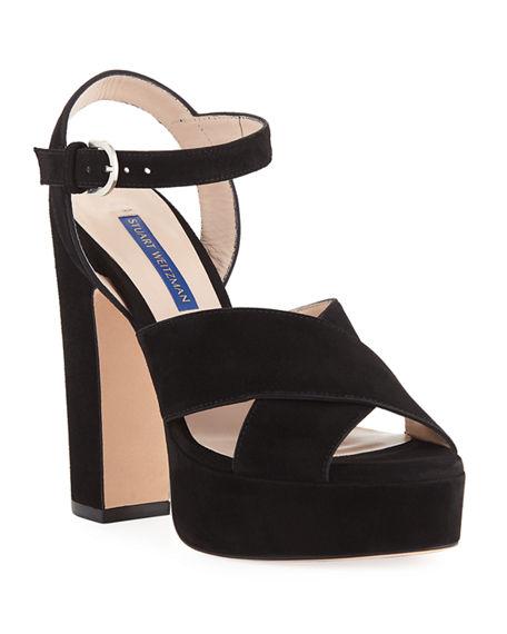 f48908f2b1b3 Stuart Weitzman Joni Suede Platform Sandals In Black