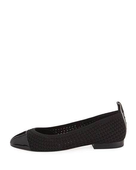 fed39056f7e Michael Michael Kors Vicky Knit Cap-Toe Ballet Flats In Black
