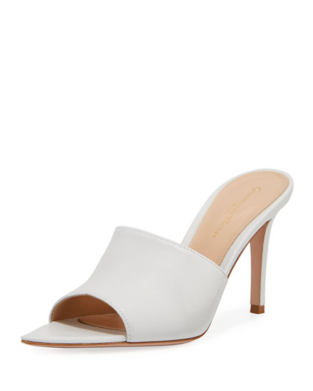 Gianvito Rossi Point-Front Smooth Leather Slide Sandals In White