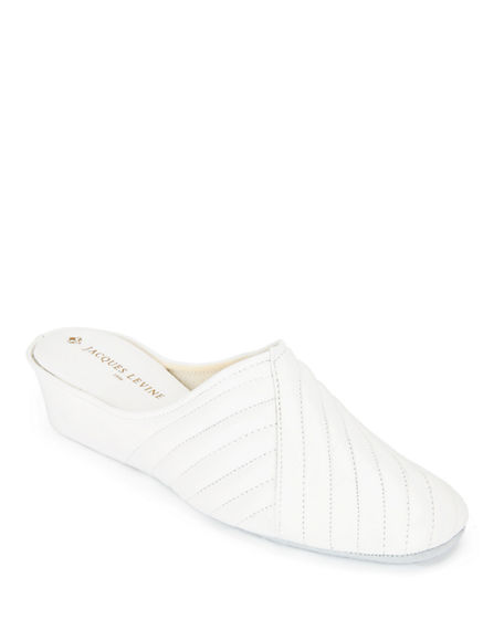 a565714fc Jacques Levine Two-Tone Metallic Quilted Slippers In White