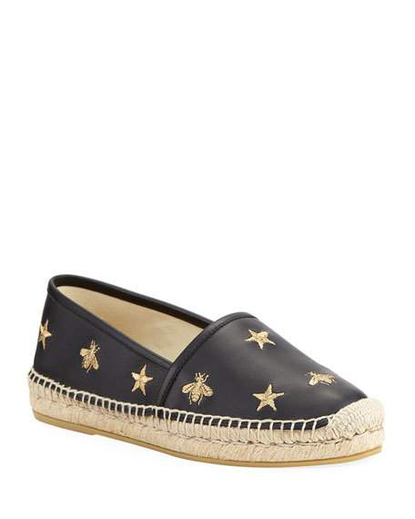 6b2994ab4ae Gucci Star And Bees Flat Espadrilles In Nero