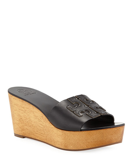 51021039230d Tory Burch Women s Patty Leather Platform Wedge Slide Sandals In Perfect  Black