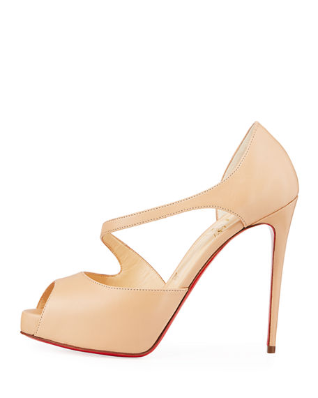 5f2eb8bc923 Catchy Two 120 Patent Leather Peep Toe Pumps in Nude