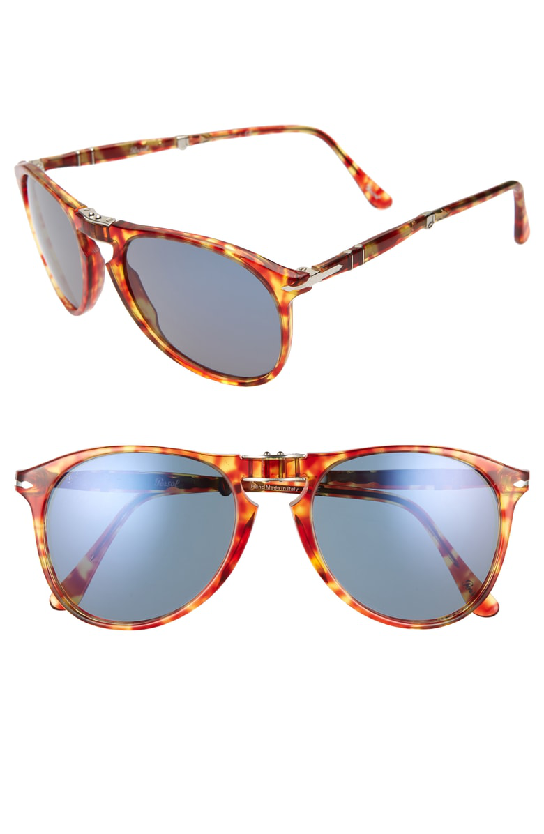 6fb0aed211d85 Persol 55Mm Aviator Sunglasses - Red Havana  Blue Solid