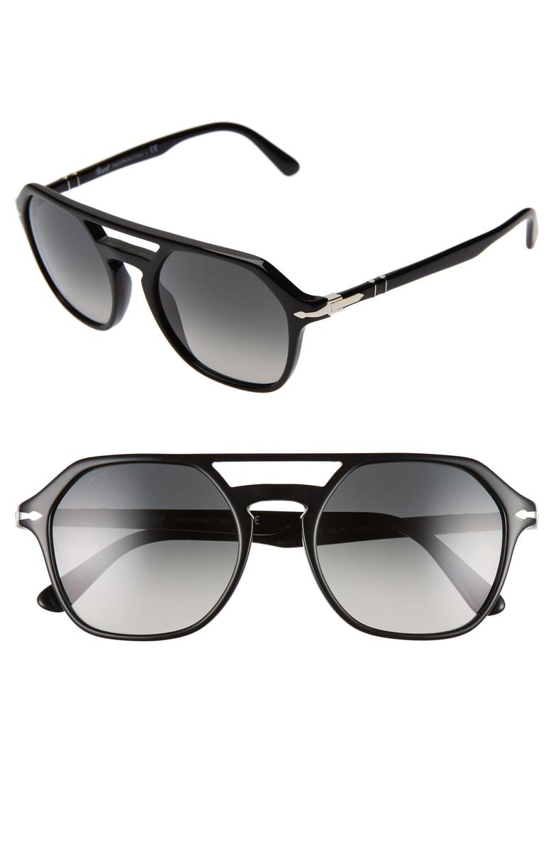 8dca8afeba7b7 Persol 54Mm Navigator Sunglasses - Black  Grey Gradient In Black   Gray  Gradient Dark Grey