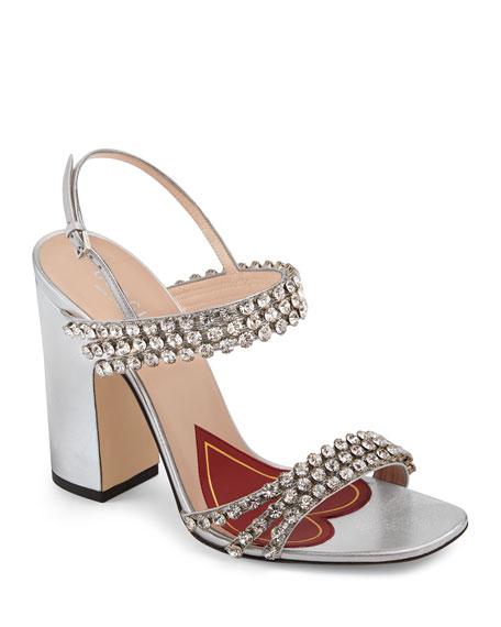 Gucci Crystal-Embellished Leather Slingback Sandals - Silver