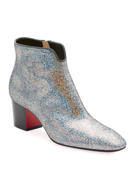 c6947d086903 Christian Louboutin Disco 70S Low-Heel Glitter Red Sole Booties ...