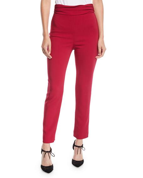 Cushnie Ruched-Waist Fitted Skinny-Leg Liquid Cady Pants In Camellia