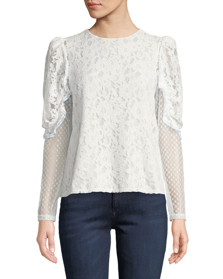 6d922333 Long-Sleeve Lace Ruffle Crewneck Blouse in 101 White