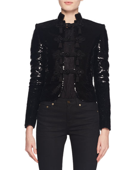 Saint Laurent Stand-Collar Frog-Closure Short Boxy Sequin Jacket In Black