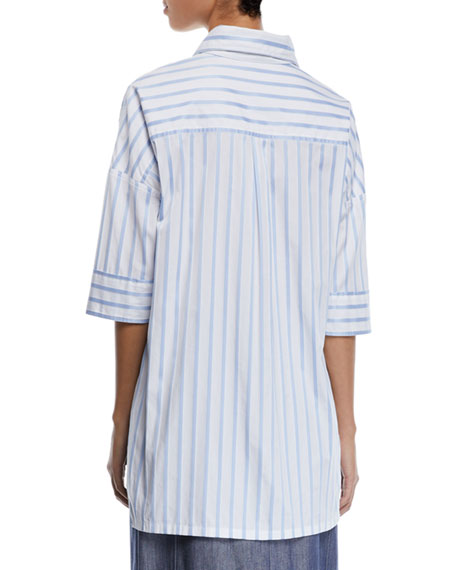 c0feb548a1 Derek Lam Short-Sleeve Button-Down Striped Satin Shirt In Light Blue ...