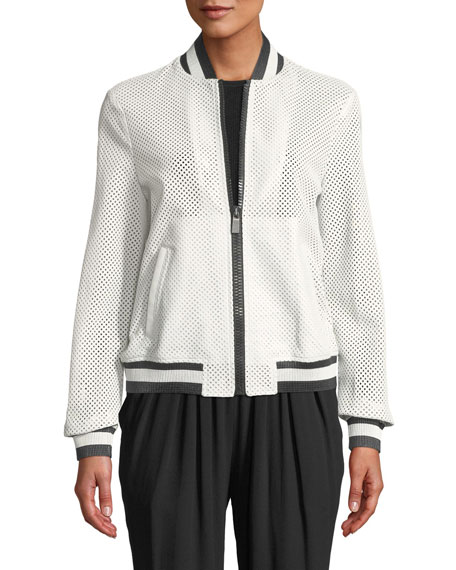 554255ae1457 Michael Kors Striped Perforated Leather Bomber Jacket In White ...