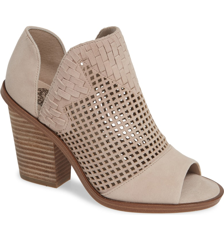 076bd79d7398 Vince Camuto Fritzey Perforated Peep Toe Bootie In Tipsy Taupe Suede ...