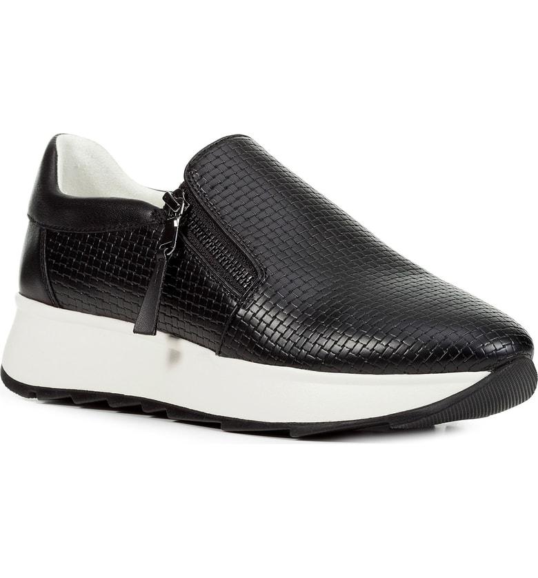 8464f20fc673b Geox Gendry Zip Sneaker In Black Leather | ModeSens