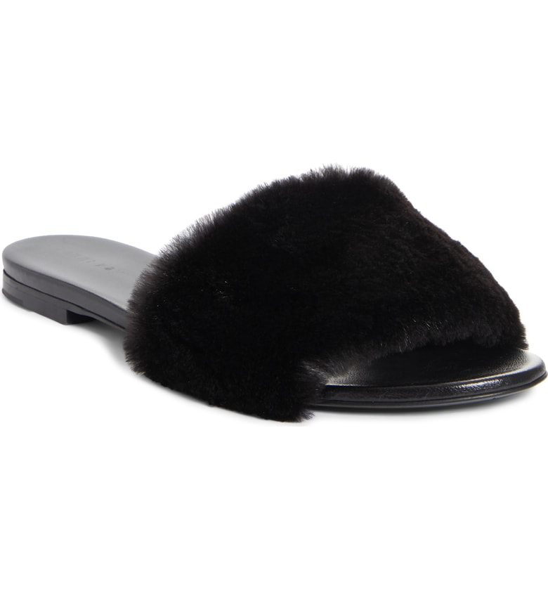 49ea1df4c57 Jenni Kayne Genuine Mink Fur Slide Sandal In Black