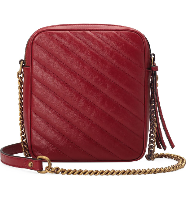 GUCCI MINI MARMONT 2.0 LEATHER CROSSBODY BAG - RED,5501550OLFT