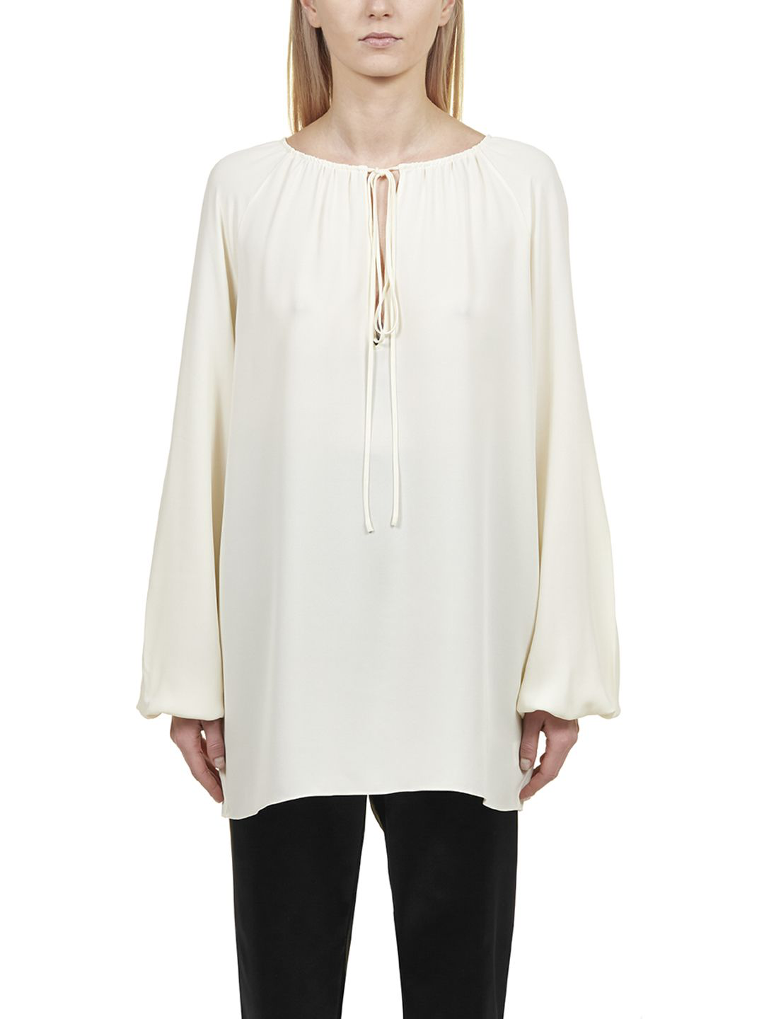 aa03dd41050eb Theory Gathered Neck Blouse In White