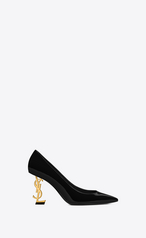 Saint Laurent Opyum Pumps With Gold-Toned Heel In Patent Leather In Black