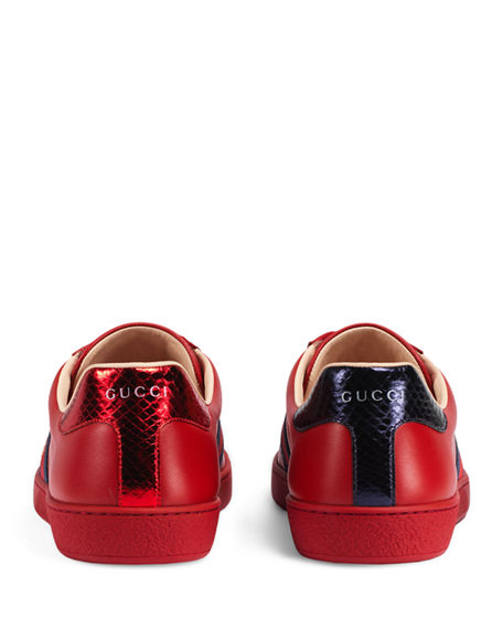 Gucci Men's New Ace Embroidered Low-Top Sneakers In 6459 Red