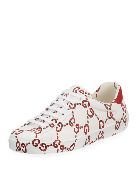 Gucci Women's New Ace Gg Print Leather Lace Up Sneakers In White
