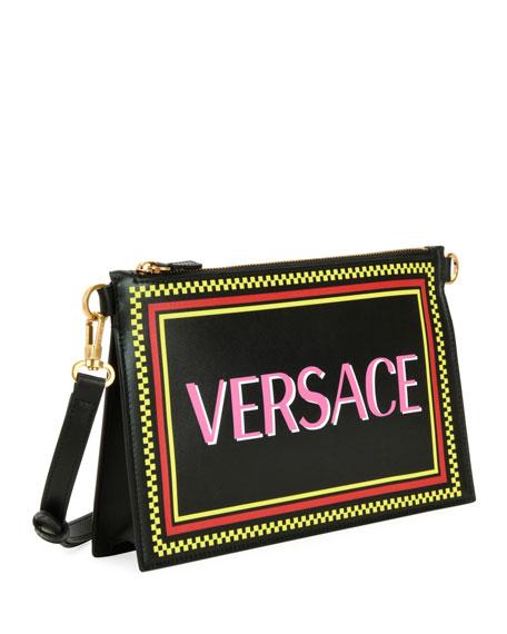1b94b46a 90S Logo Leather Wristlet Clutch Bag in Black