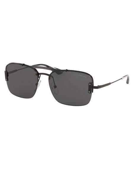 3e34b33c4a6a Prada Men s Double-Bridge Square Sunglasses In Black Gray