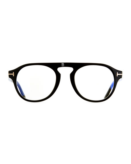 4785d89ae5b0 Tom Ford Men s Square Optical Glasses W  Magnetic Clip On Blue Block Lenses  In Black