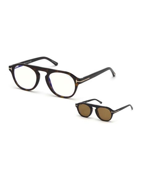 1d375b409d Tom Ford Men s Square Optical Glasses W  Magnetic Clip On Blue Block Lenses  In Black